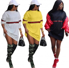 Autumn Color Stitching Women  Pullover Fleece Loose Female Tracksuits Casual Round Neck Sweatshirt black s