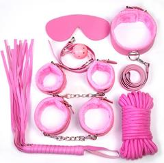 Sex Products 7Pcs/Set BDSM Bondage Set Leather Fetish Adult Games Sex Toys for Couples Slave Game SM red as picture