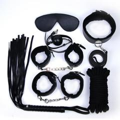Sex Products 7Pcs/Set BDSM Bondage Set Leather Fetish Adult Games Sex Toys for Couples Slave Game SM black as picture