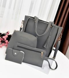 Women Bag Set Top-Handle Big Capacity Female Tassel Handbag Purse Ladies PU Leather Crossbody Bag dark gray one size