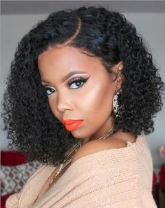 13inch Short Hair Kinky Curly Wig Synthetic Lace Front Wig Naturelle Black African Cosplay Beauty black as picture