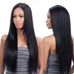 Straight Lace Front Human Hair Wigs Remy Hair Wig 27inch Pre Plucked Natural Hairline black as picture