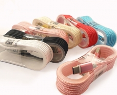 Colorful Alloy Fabric Braided Nylon Micro V8 USB Cable for Android Data Sync Charging Cable gold 1.5m