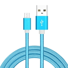 Micro USB Cable Data Sync 2A Fast Charging Metal Nylon Braid Data Cord for Android Microusb devices blue 1m