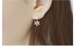 chinacbec Pearls are studded with five leaf flowers and ear studs are earrings golden as picture