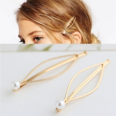 chinacbec Simple air accessories pearl gold hairpin clip hairpin headwear golden one size