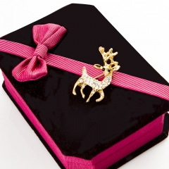 chinacbec Beautifully filled sika deer, brooch, shining water drill, sika deer pin golden one size