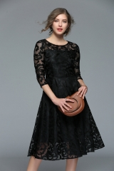Women Lace Dress Work Casual Slim Fashion O-neck Sexy Hollow Out Blue Red Dresses Ladies Wear black S