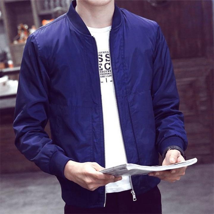 Mens wear Casual Solid Jacket Fashion Slim Bomber Tops Male Baseball windbreaker Jackets Coat blue L