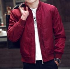 Mens wear Casual Solid Jacket Fashion Slim Bomber Tops Male Baseball windbreaker Jackets Coat red XL