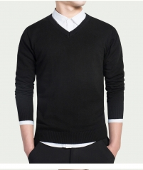 Cotton Sweater Men Long Sleeve Pullovers Outwear Man V-Neck sweaters Tops Knitting Clothing 8 Colors black 3XL