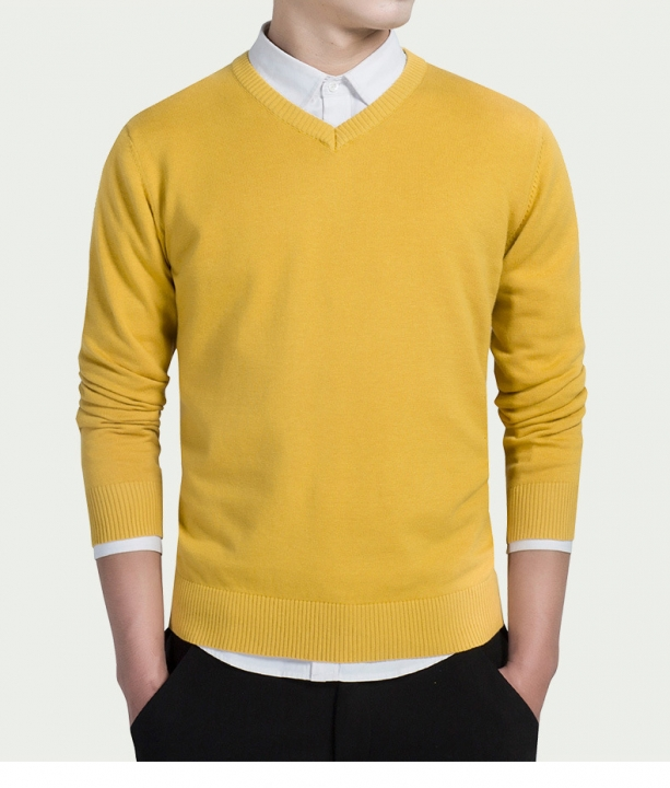 Cotton Sweater Men Long Sleeve Pullovers Outwear Man V,Neck sweaters Tops  Knitting Clothing 8 Colors yellow XXL