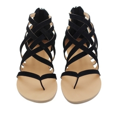 Plus Size 34-43 Flats Summer Women's Sandals Fashion Casual Shoes For Woman European Rome Style black 34