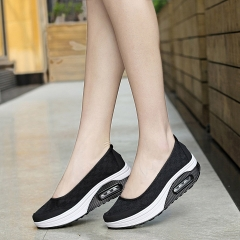 Women Flat Platform Shoes Woman Casual Air Mesh Breathable Shoes Slip On Gray Fabric Shoes black 35