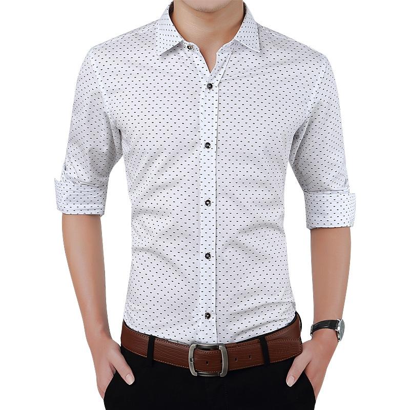 4382ddde1396 Fashion Men Clothes Slim Fit Men Long Sleeve Shirt Men Polka Dot Casual Men  Shirt Social Plus Size white M: Product No: 360767. Item specifics: Brand: