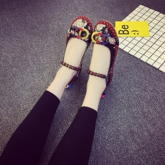 Casual Flat Shoes Women Flats Handmade Beaded Ankle Straps Loafers Retro Ethnic Embroidered Shoes black 36