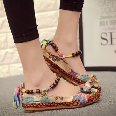 Casual Flat Shoes Women Flats Handmade Beaded Ankle Straps Loafers Retro Ethnic Embroidered Shoes red 41