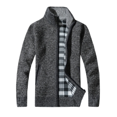 Men's Thick Sweaters Warm Winter Male Cardigan Sweaters coat Casual Knitwear Fleece Velvet Clothing dark grey L 54kg-60kg
