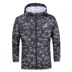 Mens Casual Camouflage Hoodie Jacket Men Waterproof Clothes Men's Windbreaker Coat Male Outwear dark grey S 53kg-60kg