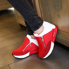 Women Wedge Casual Shoes Zipper Height Increasing Breathable Ladies Walking Flats Trainers Shoes red 37