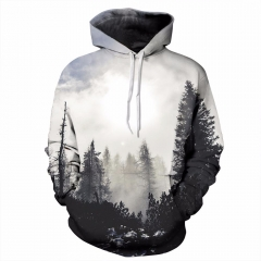 Men/women Thin Sweatshirts With Hat 3d Print Trees Hooded Hoodies Tops Pullovers gray S