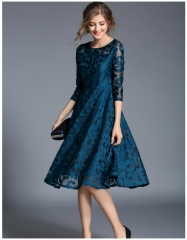 Women Lace Dress Work Casual Slim Fashion O-neck Sexy Hollow Out Blue Red Dresses Ladies Wear blue S