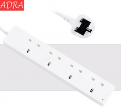 ADRA Electronic UK Plug Socket Row Plug For Household Television Use and Phone Charger White 1.8M