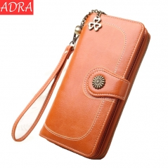 ADRA Fashion Ladies Mobile Phone Wallet Long Zip Clutch Card Holder Wallet Orange One Size
