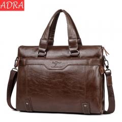 ADRA Men's Handbag High-capacity Business Briefcase Fashion Shoulder Messenger Bag Khaki Cross Section