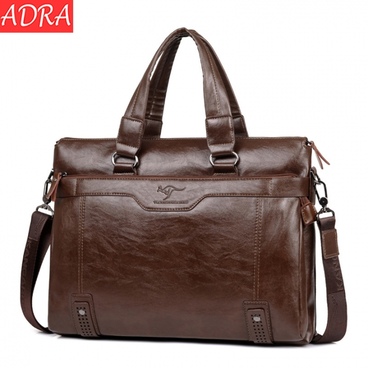 ADRA Men's Handbag High-capacity Business Briefcase Fashion Shoulder Messenger Bag Khaki Cross Section