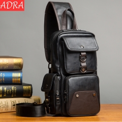 ADRA Men's Bags Small Breast Bags Casual Men's Waist Bags Crossbody Outdoor Shoulder Bags Black 16*8*33CM