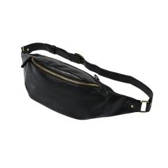 ADRA Fashion Leather Purse Men's Chest Bag Outdoor Leisure Small Pockets Black 26*10*11CM