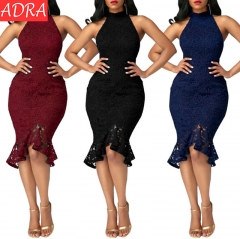 ADRA Fashion Fishtail Dress Lace Stitching Solid Color Sexy Dress Win Red S