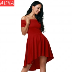 ADRA Women Off Shoulder Party Dresses Casual Elegant Vintage Dress Multiple Color Short Skirt Red S