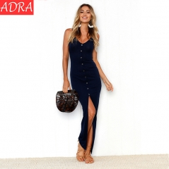 ADRA Women V-neck Strap Sexy Split Dress Royal Blue s
