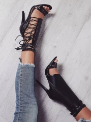 Fashion Pumps Gladiator Peep Toe Thin Heel Women High Heels Shoes Casual Lace Up Ankle Strap 35-43 Black 35