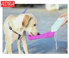 ADRA Portable Pet Dog Car Outdoor Travel Folding Dog Water Bottle 500ml Puppy Feeding Bowl