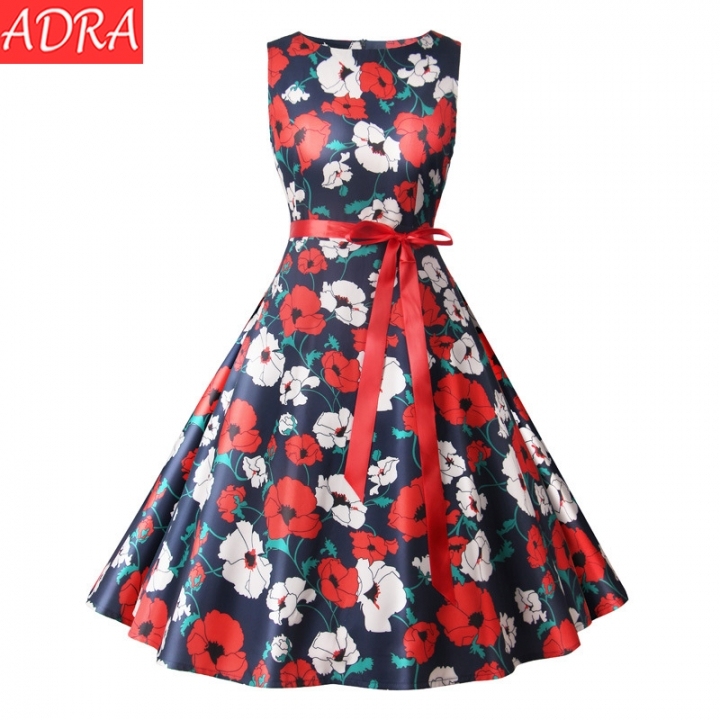 ADRA Round Neck Retro Printed Red Dress Party Hosted Ladies Dress Red Ribbon s