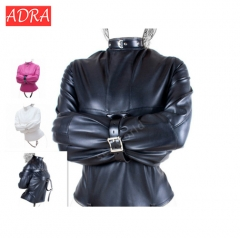ADRA PU Leather Straitjacket BDSM Bondage Harness Women Adult Couple Game Straight Jacket Adjustable black l