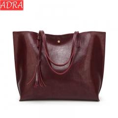 ADRA Women Bag Fashion Pu Shoulder Bag Shopping Bag Portable Ladies Big Bag Wine Red One Size