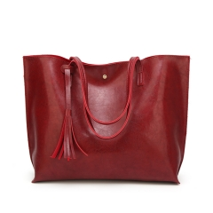 ADRA Women Bag Fashion Pu Shoulder Bag Shopping Bag Portable Ladies Big Bag Red One Size