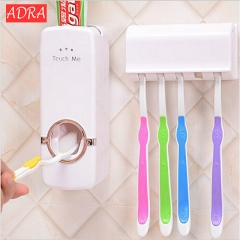 Automatic Toothpaste Squeeze Creative Toothpaste Extruder Dispenser Family Toothbrush Holder Set white one size