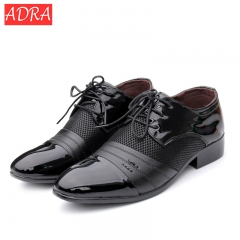 Men pu Leather Shoes Men's Flats Formal Shoes Classic Business Dress Wedding Shoes Luxury Brand black 38