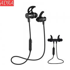 ADRA Wireless Sports Bluetooth Headset Heavy Bass In-ear Mobile Phone Universal Magnetic Headphones Black