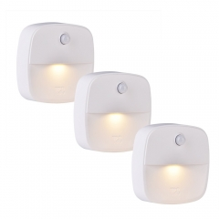 3piece/Set Stick-On Night Light,Motion,Light Sensor for Bedroom, Bathroom, Kitchen, Hallway, Stair white 2.75in 0.4W