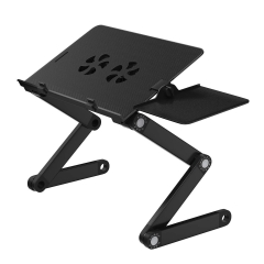 Portable Laptop Table Stand with 2 CPU Cooling Fans,Removable Mouse Board Lap Desk Standing Desk Black one size