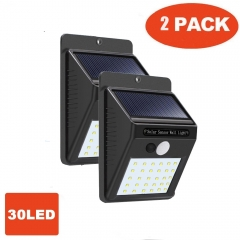 4pcs/set 30 LED Solar Powered Wall Light Motion Sensor Outdoor Security Yard Wall Waterproof Lamps 2pcs/set 96*124*48mm 0.55W