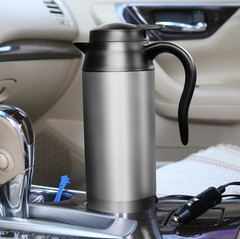 Stainless Steel Electric In-Car Kettle Car Travel Heating Water Bottle 750ml Coffee Tea Heated silver 12V
