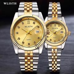 WLIStH 2PCS Set Couples Wrist Watch Men Women Lovers Waterproof Quartz Wristwatches 1 male+1 female golden and silver