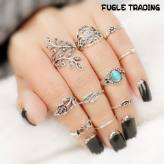 FUGLE TRADING 10PC/Set Women Fashion antique diamond turquoise sun and moon of rings Jewelry Silver As Picture